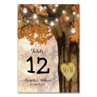 Rustic Fall Autumn Tree Wedding Table Numbers