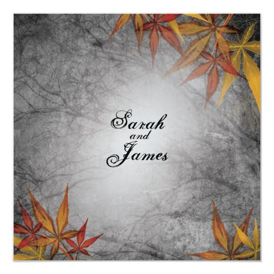 Rustic Fall Branches and Leaves Wedding Invitation