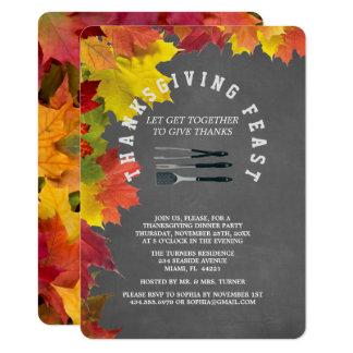 Rustic Fall Chalkboard Thanksgiving Dinner Party 11 Cm X 16 Cm Invitation Card