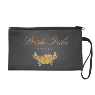 Rustic Fall Gold Chalkboard Wedding Bridesmaid Wristlet