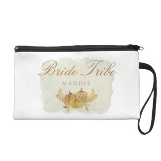 Rustic Fall Gold Watercolor Wedding Bridesmaid Wristlet