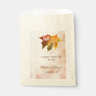 Rustic Fall in Love Lace THANK YOU Wedding Favour Bag