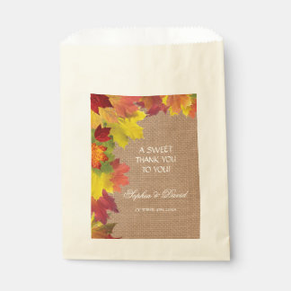 Rustic Fall Leaves Burlap THANK YOU Wedding Favour Bag