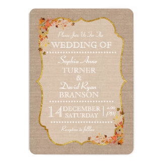 Rustic Fall Leaves Linen Canvas Wedding Invitation