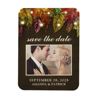 Rustic Fall Leaves Photo Save the Date Magnets