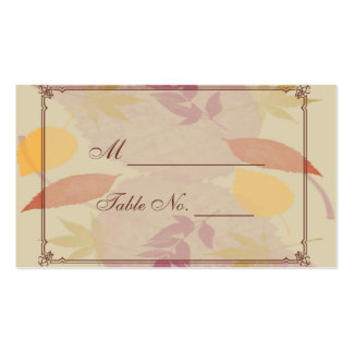 Rustic Fall Leaves Wedding Place Cards Business Card Templates