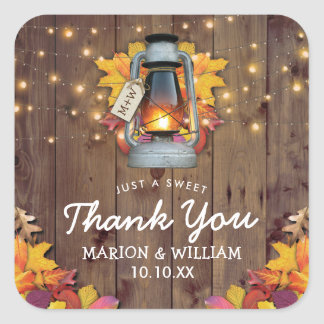 Rustic Fall String Lights Autumn Leaves Wedding Square Sticker