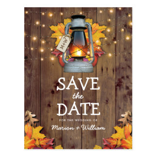 Rustic Fall String Lights Autumn Save the Date Postcard