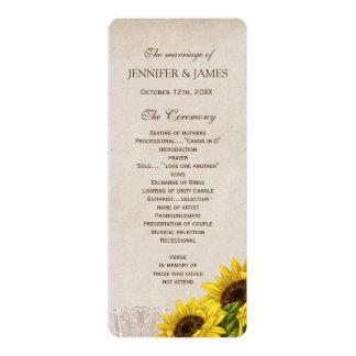 Rustic Fall Sunflower Wedding Program 10 Cm X 24 Cm Invitation Card