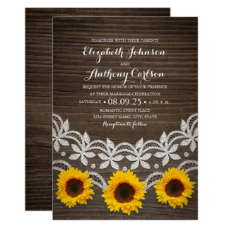 Rustic Fall Sunflower Wedding Wood & Lace Card