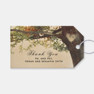 Rustic Fall Tree Carved Heart Wedding Gift Tags