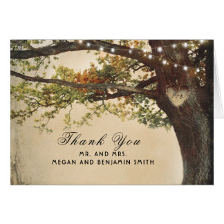 Rustic Fall Tree Lights Wedding Thank You Card