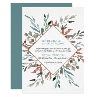 Rustic Fall Watercolor Leaves Wedding Invitations