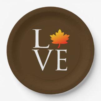 Rustic Fall Wedding Love Orange Maple Leaf Autumn 9 Inch Paper Plate