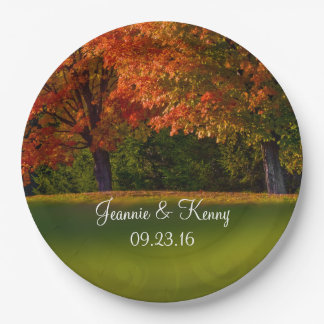 Rustic Fall Wedding Personalizable Names Date 9 Inch Paper Plate