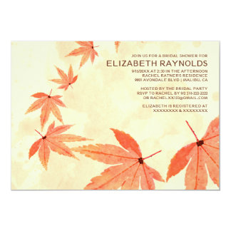 "Rustic Falling Leaves Bridal Shower Invitations 5"" X 7"" Invitation Card"