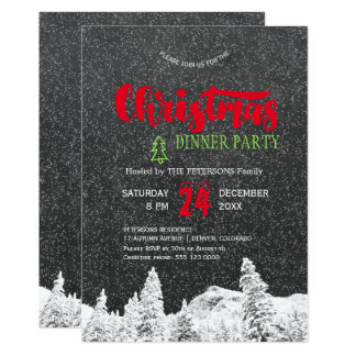 Rustic falling snow chalkboard red Christmas party Card
