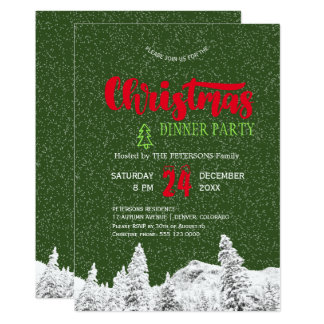 Rustic falling snow green red Christmas party Card