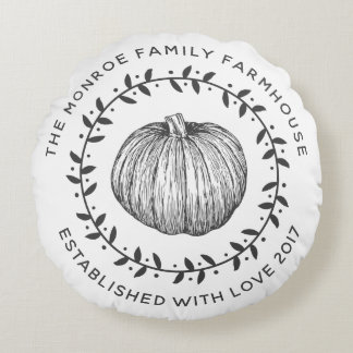 Rustic Family Farmhouse Pumpkin Wreath Round Cushion