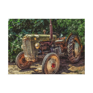Rustic farm tractor canvas print