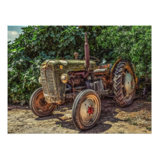 Rustic farm tractor photo print