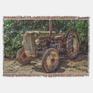 Rustic farm tractor throw blanket