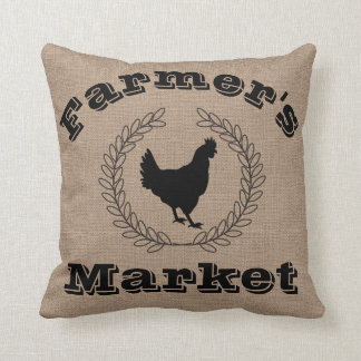 Rustic Farmer's Market Black Laurels & Hen Cushion