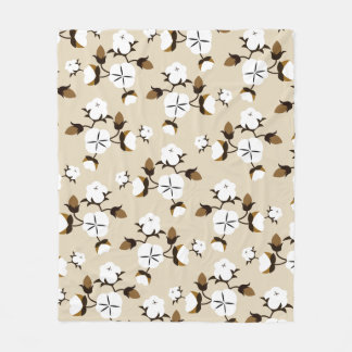 Rustic Farmhouse Cotton Flowers Fleece Blanket