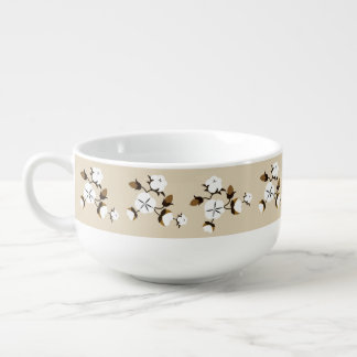 Rustic Farmhouse Cotton Flowers Soup Mug