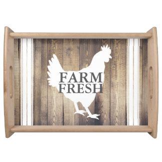 Rustic Farmhouse Country Hen Farm Fresh Serving Tray