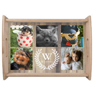 Rustic Farmhouse Country Laurels Family 5 Photos Serving Tray