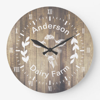 Rustic Farmhouse Dairy Farm Cow & Family Name Large Clock