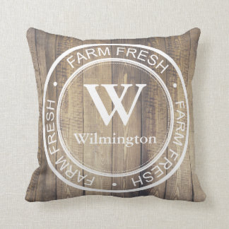 Rustic Farmhouse Family Name Farm Fresh Label Cushion