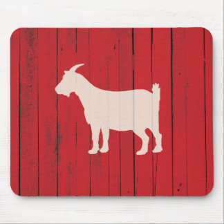 Rustic Farmhouse Goat Red Barn Wood Panel Mouse Pad