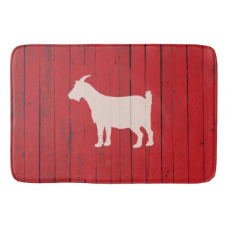 Rustic Farmhouse Goat Red Wood Panel Barn Bath Mat
