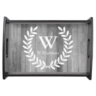 Rustic Farmhouse Gray White Country Laurels & Name Serving Tray