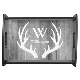 Rustic Farmhouse Gray White Deer Antlers & Name Serving Tray