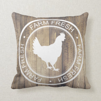 Rustic Farmhouse Hen Chicken Farm Fresh Label Cushion