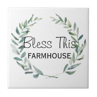 Rustic Farmhouse Watercolor Magnolia Wreath Design Ceramic Tile