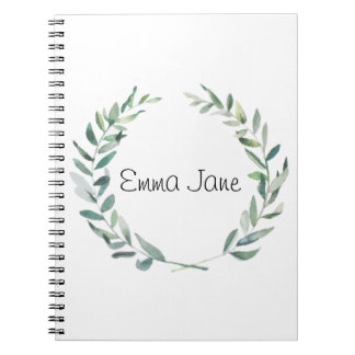 Rustic Farmhouse Watercolor Magnolia Wreath Design Notebooks