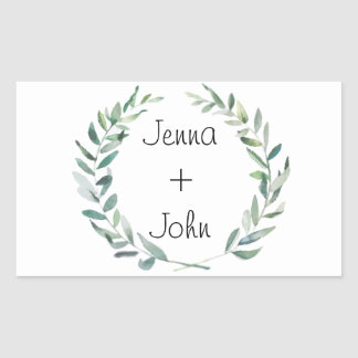 Rustic Farmhouse Watercolor Magnolia Wreath Design Rectangular Sticker