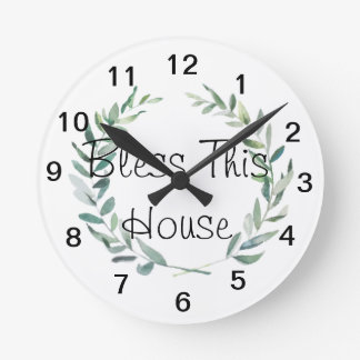 Rustic Farmhouse Watercolor Magnolia Wreath Design Round Clock