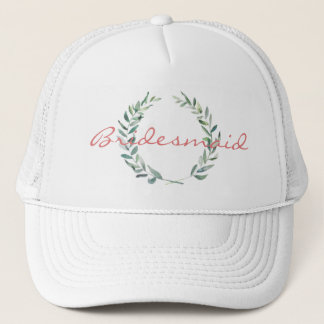 Rustic Farmhouse Watercolor Magnolia Wreath Design Trucker Hat