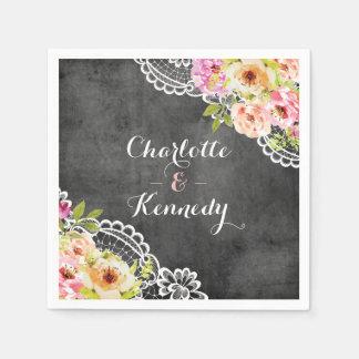 Rustic Farmhouse Wedding Roses & Lace Personalized Disposable Serviettes