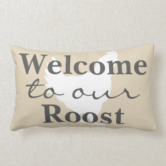 Rustic Farmhouse Welcome to Our Roost Hen & Name Lumbar Cushion