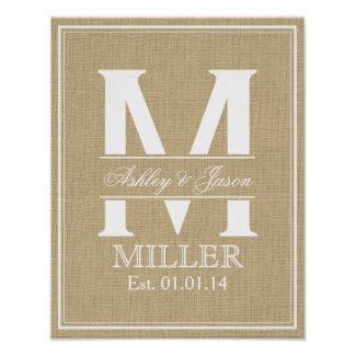 Rustic Faux Burlap and White Wedding Monogram Poster