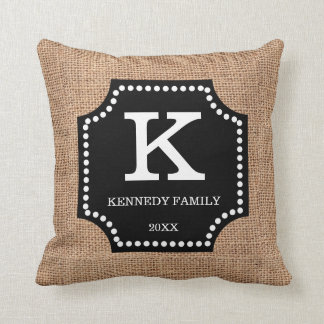 Rustic Faux Burlap Family Name Monogram Inital Cushion