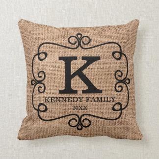Rustic Faux Burlap Family Name Monogrammed Cushion