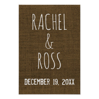 Rustic Faux Burlap Wedding Day | Monogram Sign