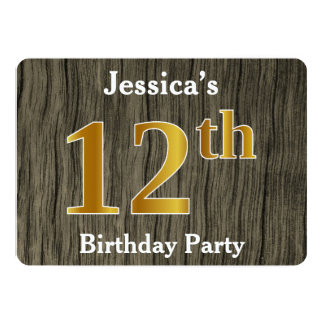 Rustic, Faux Gold 12th Birthday Party; Custom Name Card